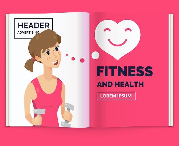 Layout realistico della rivista. opuscolo aperto con pubblicità per il fitness. illustrazione.