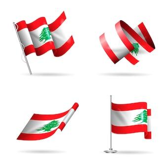 Collezione di bandiera libanese realistica