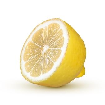 Limone realistico isolato su priorità bassa bianca