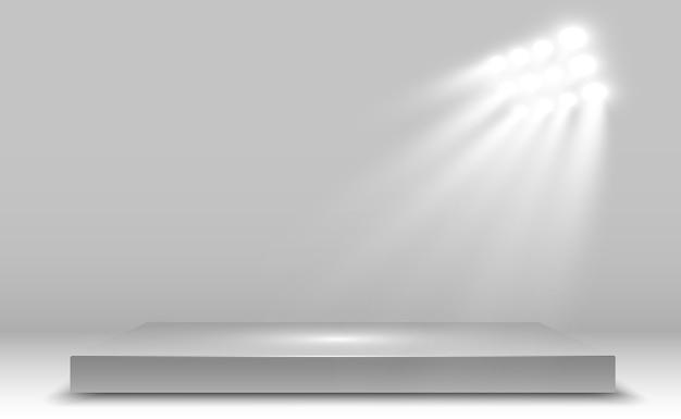 Scatola luminosa realistica con sfondo della piattaforma per prestazioni di design, spettacolo, mostra.