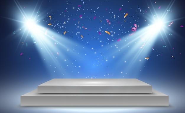 Scatola luminosa realistica con sfondo della piattaforma per la mostra di performance di design