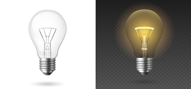 Lampadina realistica. lampade a incandescenza gialle e bianche incandescenti, modello. lampadine 3d impostate su sfondo trasparente. illustrazione vettoriale