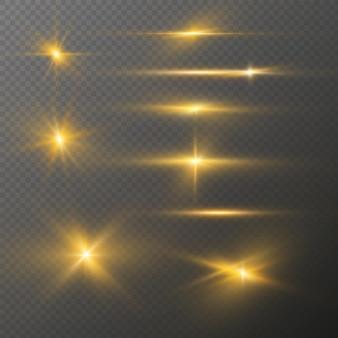 I riflessi di luce realistici impostano gli effetti di luce delle stelle brillanti con glitter dorati di bagliori luminosi flash