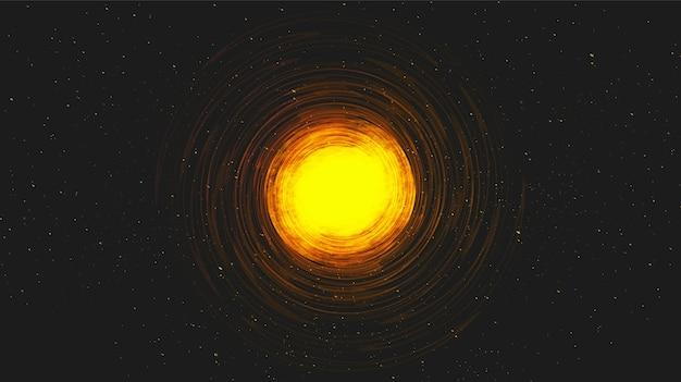 Buco nero a spirale di luce realistica su sfondo galassia. concetto di pianeta e fisica