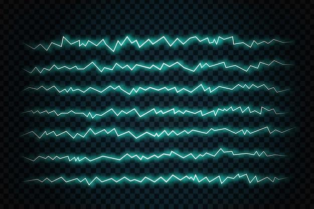 Fulmini realistici sullo sfondo trasparente. concetto di elettricità.
