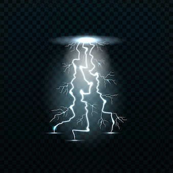 Lampi realistici sullo sfondo trasparente. concetto di elettricità ed effetti elettrici.
