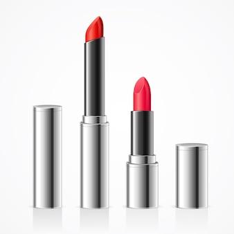 Rossetto realistico in tubo di metallo argentato set luxury style. cosmetico professionale decorativo per donna. illustrazione vettoriale