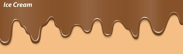 Gelato liquido realistico dessert gelato fondente torta dolce sciolta su cono di cialda al cioccolato