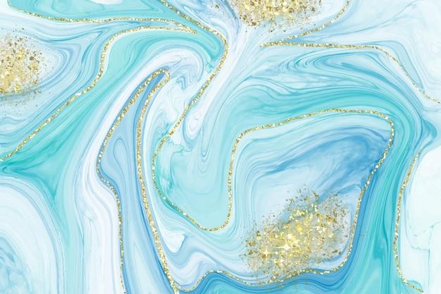 Sfondo di marmo liquido realistico con oro