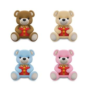 Personaggio realistico della bambola dell'orso del bambino poco carino che sorride e che tiene un regalo rosso presente per amore. un gesto rilassante del fumetto dell'orso animale, illustrazione.