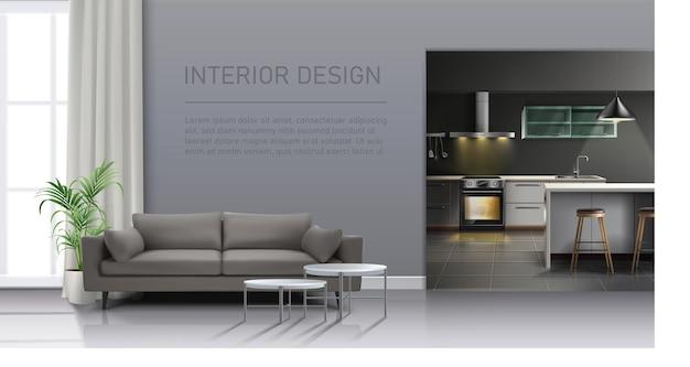 Interno del soggiorno realistico con grande finestra, divano, cucina con elettrodomestici da cucina