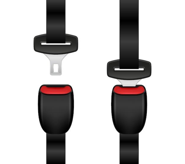 Illustrazione realistica della cintura di sicurezza bloccata e sbloccata