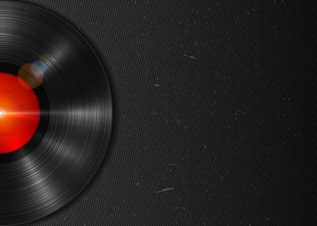 Disco in vinile realistico a riproduzione lunga con etichetta rossa. disco di vinile vintage su sfondo scuro grunge
