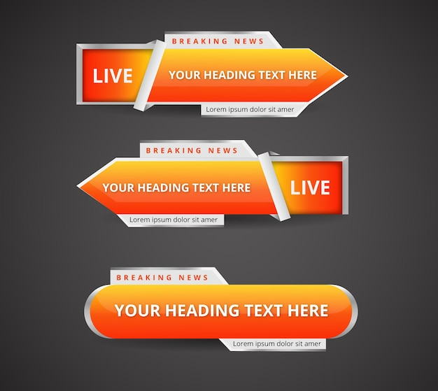 Set di banner realistici dei terzi inferiori per il canale di notizie