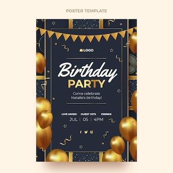 Poster di compleanno d'oro di lusso realistico