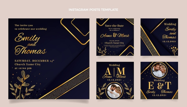 Matrimonio d'oro di lusso realistico ig Vettore Premium