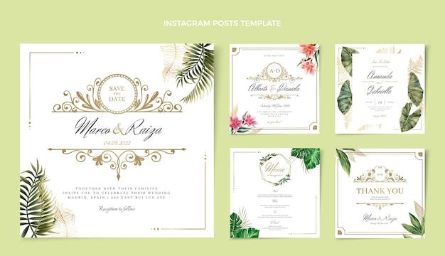 Post di instagram di nozze d'oro di lusso realistico