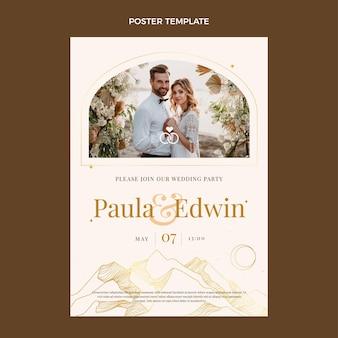 Poster di nozze d'oro di lusso realistico