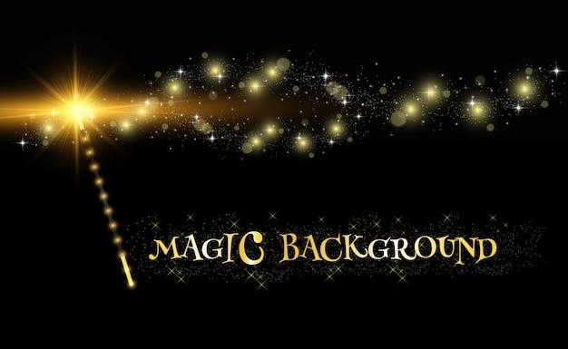 Bacchetta magica realistica con brillanti scintille su uno sfondo trasparente.