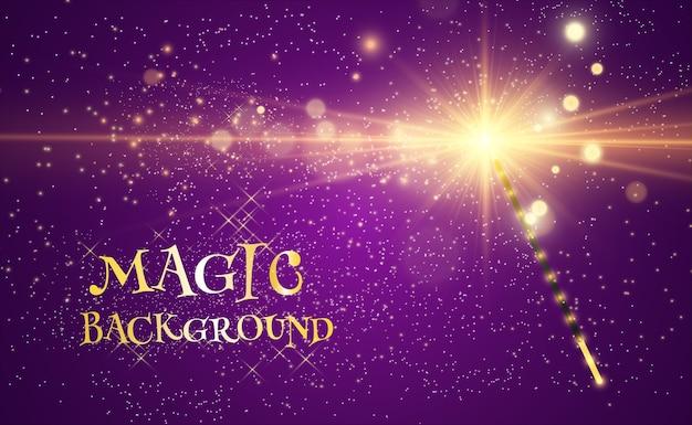 Bacchetta magica realistica con scintillii luminosi su uno sfondo trasparente.