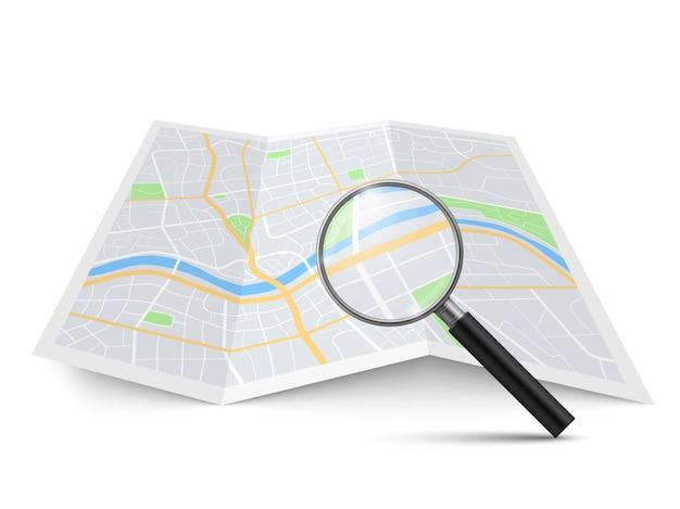 Lente d'ingrandimento e mappa realistiche. ingrandimento zoom ricerca strada paesaggio urbano, ricerca posizione sull'opuscolo di geografia trova direzione nel concetto di navigazione della città vettore 3d isolato illustrazione