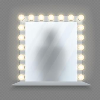 Specchio per il trucco realistico. vetro in cornice di lampadine con tavolo.