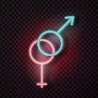 Insegna al neon erotica maschile e femminile realistica per la decorazione e la copertura sullo sfondo trasparente.