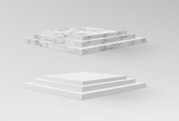 Piedistalli realistici in marmo e bianco o fasi museali vuote geometriche astratte sul podio