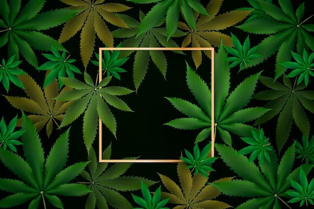 Sfondo di foglia di marijuana realistico Vettore Premium