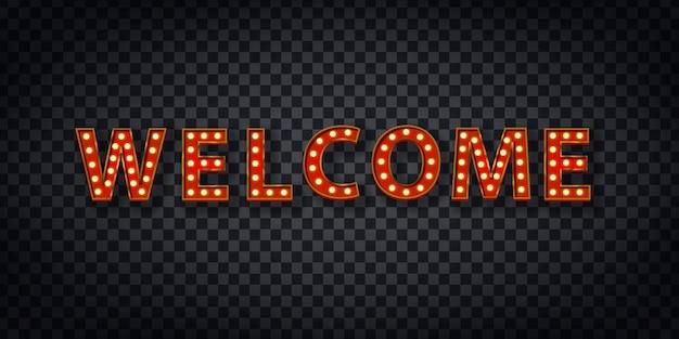 Tendone realistico del logo di benvenuto per la decorazione e il rivestimento sullo sfondo trasparente.