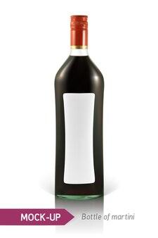 Bottiglia realistica di martini o altra bottiglia di vermouth. su uno sfondo bianco con ombra e riflesso.