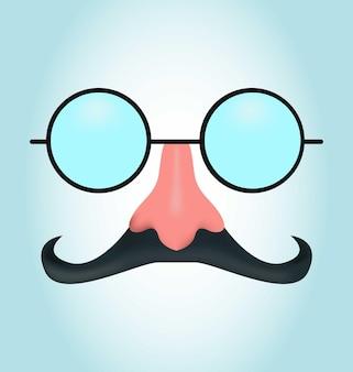 Maschera realistica con baffi e occhiali