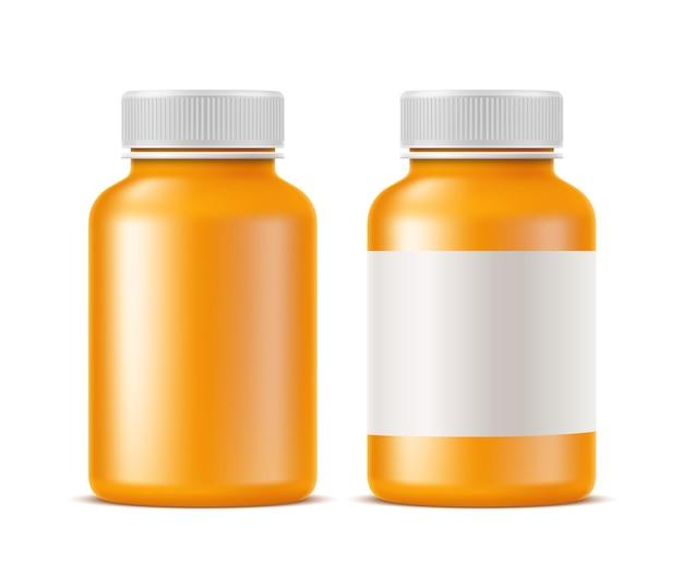 Mockup di bottiglia di farmaci e pillole mediche realistico. antidolorifici in bianco arancione, contenitore di antibiotici per la progettazione di prodotti farmaceutici. barattolo vuoto per farmaci con coperchio senza disegno.