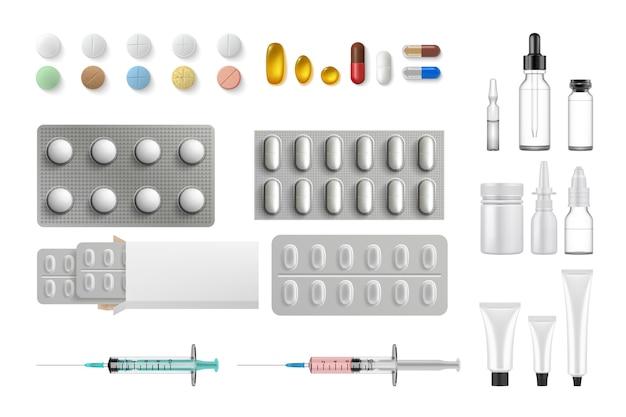 Raccolta di set di attrezzature mediche realistiche.