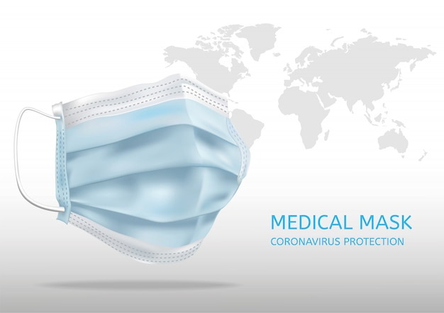 Maschera medica realistica. dettagli maschera medica 3d. illustrazione
