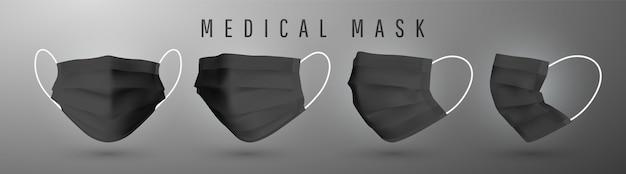 Maschera facciale medica realistica. dettagli maschera medica.