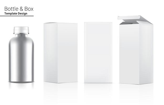 Confezione metallica di bottiglia di medicina realistica con scatola.