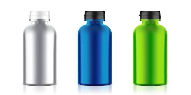 Imballaggio metallico realistico della bottiglia della medicina.