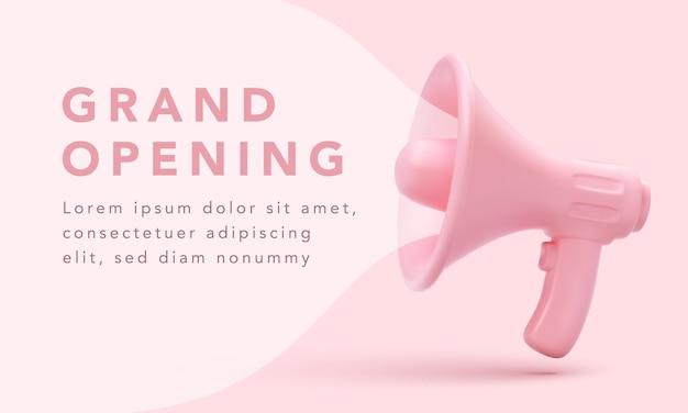 Megafono realistico con bolla rosa per il concetto di social media marketing.