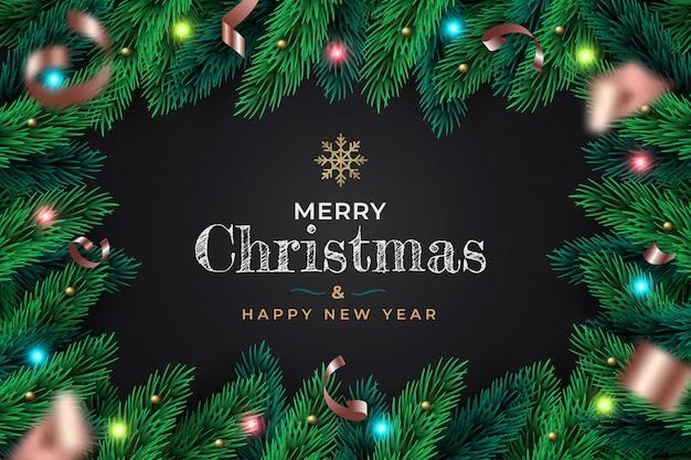 Sfondo di cornice realistica merry christmas wreath