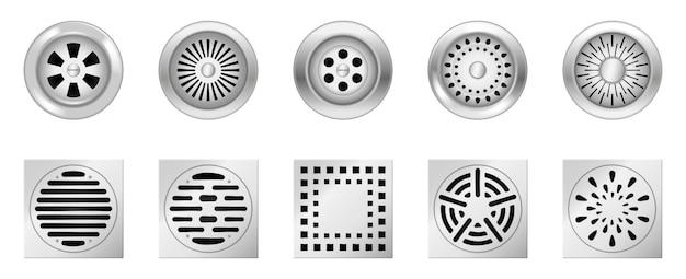 Griglie di drenaggio in metallo realistiche. set di pozzetto di scarico quadrato e rotondo con griglia in acciaio per doccia o lavandino isolato su bianco. strumenti per fogna in bagno o in cucina. illustrazione vettoriale