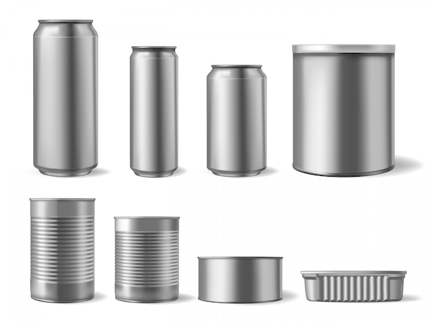 Tincani metallici realistici. set di cibi e bevande, mockup di imballaggi per bevande e lattine di birra in acciaio di diverse forme. latta del contenitore e acciaio della latta, illustrazione del modello del metallo del prodotto