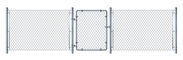 Illustrazione dettagliata del recinto e del portone del nastro metallico del metallo isolata su fondo bianco.