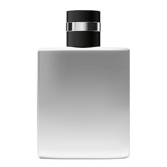 Bottiglia metallica realistica con tappo nero per profumo isolato su sfondo bianco ector