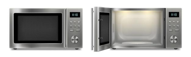 Microonde realistico isolato su cenni storici bianchi. forno a microonde in acciaio inox aperto e chiuso. cucina domestica ed elettrodomestici. innovazione domestica. vettore 3d