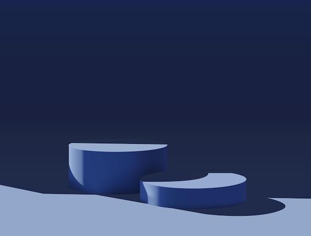 Modello di podio piattaforma blu minimal realistico per la presentazione del prodotto