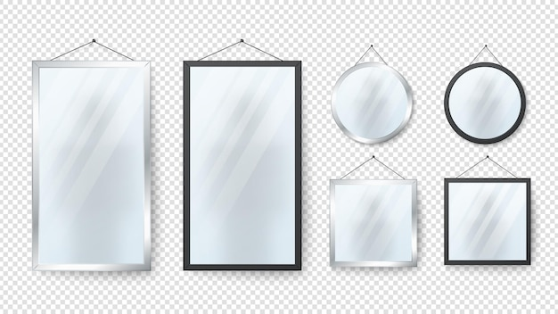 Specchio realistico. specchi rettangolari, tondi a riflessione con montature in metallo e nere isolate su sfondo trasparente. collezione vettoriale interni in argento lucido. illustrazione specchio rettangolo e cerchio
