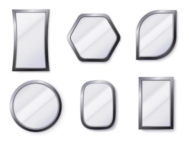 Specchi realistici. la superficie riflettente dello specchio nel telaio, nel vetro specchiante e nello specchio rotondo 3d ha isolato l'illustrazione di vettore
