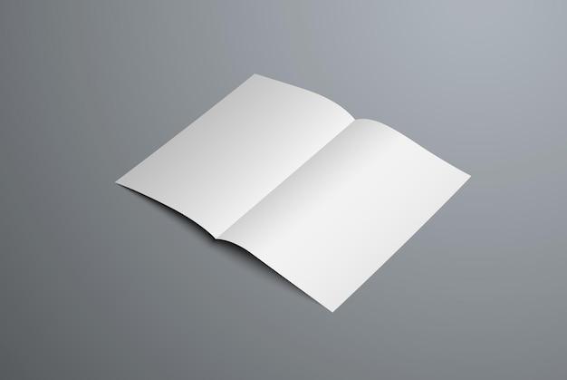Mockup realistico di opuscolo aperto a doppia piega. modello di carta intestata bianco vuoto per la presentazione del design. isolato su sfondo.