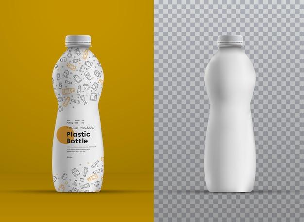 Bottiglia curva di plastica mockup realistica per succo, yogurt, kefir o latte. modello per la presentazione del design dell'etichetta. Vettore Premium